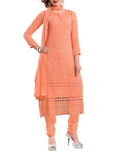Embroidered Solid Peach Chiffon Suit Set - Khushali