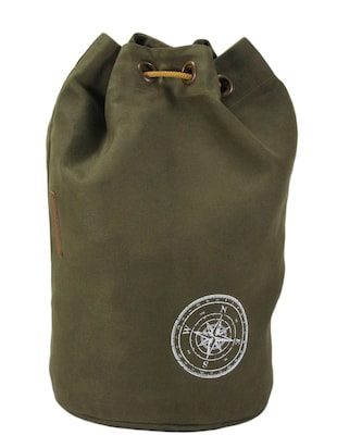 green canvas rucksack