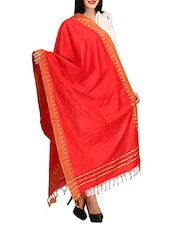 Red Viscose Plain  Dupatta - By