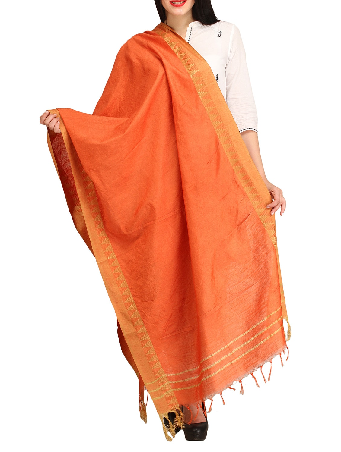 Orange Viscose Plain  Dupatta - By