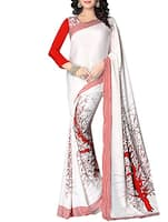 white & red italian crepe saree -  online shopping for Sarees