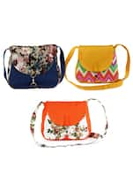 Set of 3 multicolored printed canvas sling bag -  online shopping for sling bags