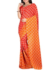 Multi Colored Georgette Printed  Saree - By