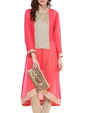 Red Georgette Highlow Kurta - By