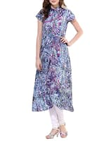 multi colored crepe a line kurta -  online shopping for kurtas