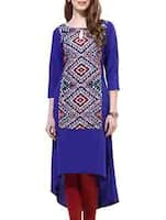 blue,multi crepe high low kurta -  online shopping for kurtas