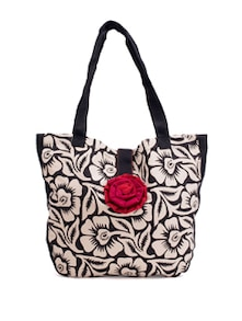Black And White Handbag With A Deep Red And Pink Rose Button - Pick Pocket