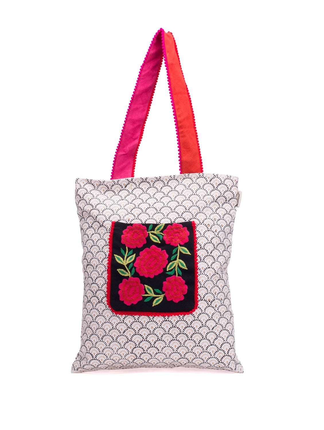 White Handbag With Floral Embroidery On The Pouch - Pick Pocket