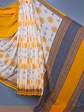 Linen Silk Printed Saree - Fabdeal