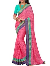 Pink Satin Chiffon Printed  Saree - By
