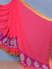 Golden Bordered Printed Georgette Saree - Fabdeal