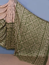Beige & Green Printed Jute Silk Saree - Fabdeal