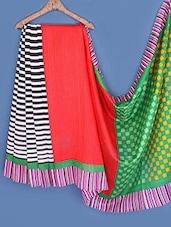 Stripes & Geometric Print Artsilk Saree - Fabdeal