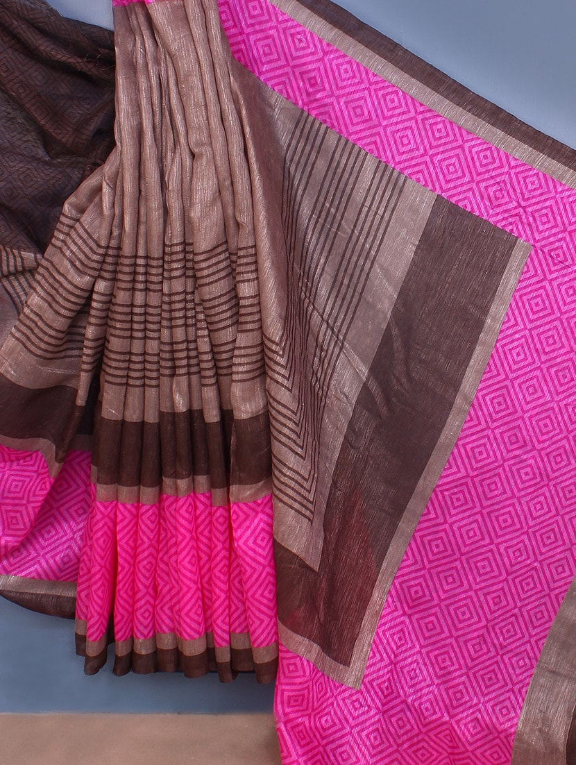 Brown & Pink Printed Bhagalpuri Silk Saree - Fabdeal