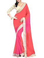 pink, orange georgette saree -  online shopping for Sarees