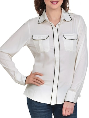 white, black crepe shirt