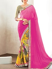 Pink, Yellow Georgette, Chiffon Half And  Saree - By
