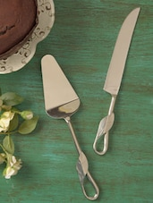 Leaf Style Pie Server With Knife Set - Sage Koncpt