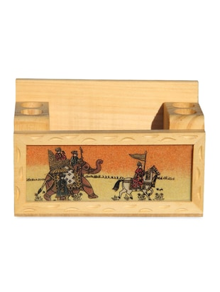 Pen Holder made of Real Gemstone Pine wood with Procession Design 4 Hole Penstand