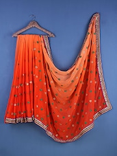 Orange Chiffon Sequined Saree - Suchi Fashion
