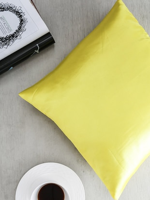 First Row Glossy Yellow Satin Cushion Cover
