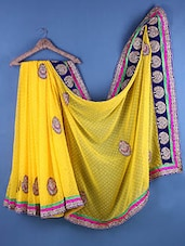 Yellow Chiffon Zari Bordered Saree - Suchi Fashion