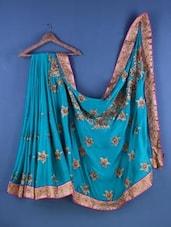 Green Chiffon Floral Embroidered Saree - Suchi Fashion