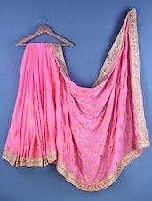 Pink Chiffon Zari Embroidered Saree - Suchi Fashion