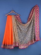 Multicolour Satin Chiffon Zari Embroidered Saree - Suchi Fashion