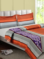Multicolor Printed With Stripes Cotton Double Bedsheet - Desi Connection