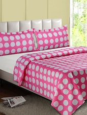 Pink & White Over All Circle Cotton Double Bedsheet - Desi Connection