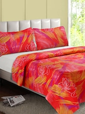 Red Printed Cotton Double Bedsheet - Desi Connection