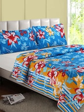 Blue & Multicolor Floral Print Cotton Double Bedsheet - Desi Connection