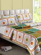 Circles In Square Geometric Print Cotton Double Bedsheet - Desi Connection