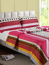 Multicolor Stripe Printed Cotton Double Bedsheet - Desi Connection