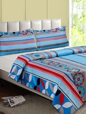 Blue & Multicolor Printed Cotton Double Bedsheet - Desi Connection