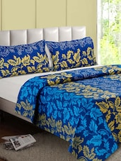 Blue & Brown Leaf Printed Cotton Double Bedsheet - Desi Connection