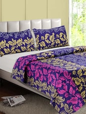 Purple-Multicolor Leaf Printed Cotton Double Bedsheet - Desi Connection