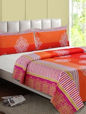 Orange-Multicolor Printed Cotton Double Bedsheet - Desi Connection