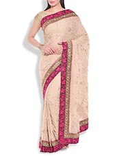 beige resham embroidered georgette saree available at Limeroad for Rs.13800