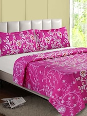 Pink Floral Cotton Double Bedsheet - Desi Connection