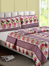 Multicolor Floral Print Cotton Double Bedsheet - Desi Connection