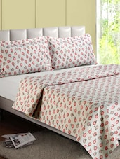 White  Apple Printed Cotton Double Bedsheet - Desi Connection
