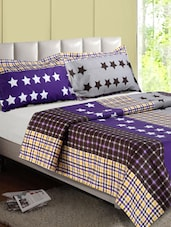 Multicolor Star & Check Pattern Cotton Double Bedsheet - Desi Connection