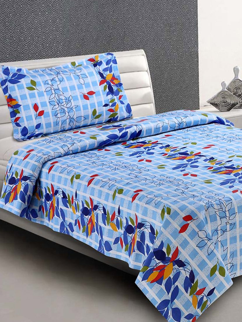 Blue Printed Everyday Cotton Single Bedsheet - Desi Connection
