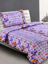 Lilac Printed Everyday Cotton Single Bedsheet - Desi Connection