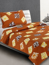 Brown Animal Print Blocks Cotton Single Bedsheet - Desi Connection