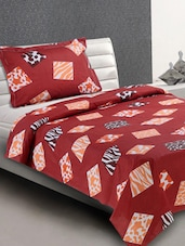 Maroon Animal Print Blocks Cotton Single Bedsheet - Desi Connection