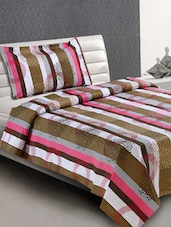 Multicolor Striped Cotton Single Bedsheet - Desi Connection