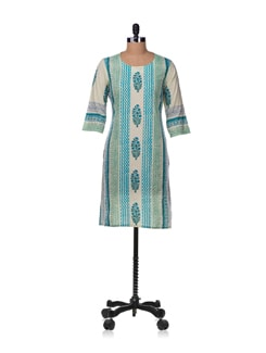 Vertical Patterns Kurta In Turquoise And Pista Green - Cotton Curio